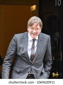 London, UK. 06 March, 2018. The Secretary of State for Exiting the European Union David Davis meets Leader of the Alliance of Liberals and Democrats for Europe Guy Verhofstadt MEP in Downing Street.