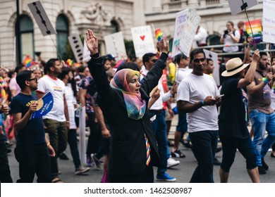 London / UK - 07/06/2019: muslim women in burkas at at London Pride Parade