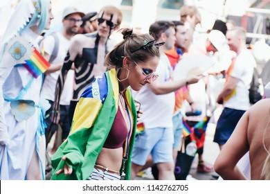 London / UK - 07/07/2018: Girl in Brazilian flag at London Pride Parade
