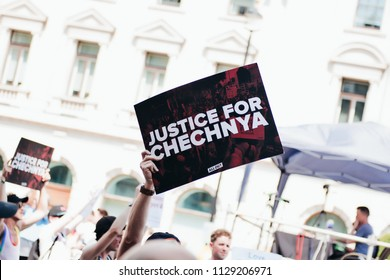 London / UK - 07/07/2018: justice for chechnya banner at London Pride Parade