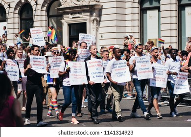 London / UK - 07/07/2018: People Against homophobia in Russia London Pride Parade