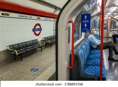 London. UK- 07.29.2020: government advice to use public transport for essential travel only have resulted in  deserted London Underground especially during off peak hours with empty platform / trains.