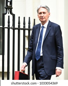 London, UK. 08 March, 2017. Phillip Hammond leaves 11 Downing Street to deliver his budget speech in the House of Commons.