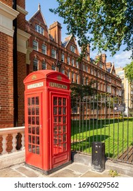 LONDON, UK - 08/25/2018:  Red Telephone Box in South Audley Street, Mayfair