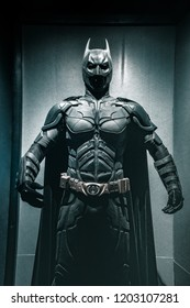 London, UK - 09/08/2018: Original Batman costume worn by Christian Bale in The Dark Knight (2006) on public display at the O2 Arena.