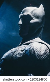London, UK - 09/08/2018: Original costume worn by Ben Affleck in Justice League (2017) on public display at the O2 Arena.