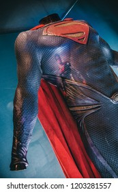 London, UK - 09/08/2018: Original Superman costume worn by Henry Cavill in Justice League (2017) on public display at the O2 Arena.