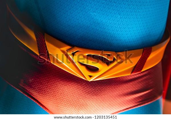 London Uk 09082018 Original Superman Costume Stock Photo