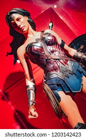 London, UK - 09/08/2018: Original Wonder Woman costume worn by Gal Gadot in Justice League (2017) on public display at the O2 Arena.