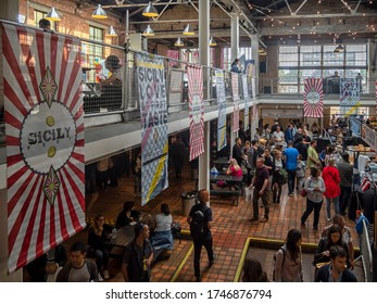 LONDON, UK -09/09/2018:  Sicily Fest 2018 in the Boiler House at The Old Truman Brewery in Brick Lane