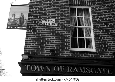 London, UK - 09/10/15: Town of Ramsgate pub in Wapping.