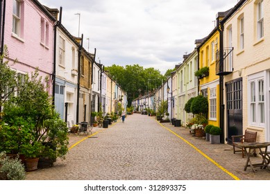 London, UK - 1 August 2015: Exclusive mews with colored small houses in Chelsea, a  wealthy borough of London