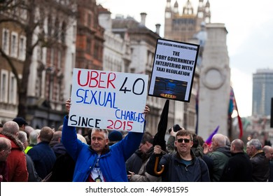 London UK 10 February 2016 Thousands of taxi drivers by United Cabbies Group bring traffic to standstill in London's Whitehall protesting against UBER working conditions.