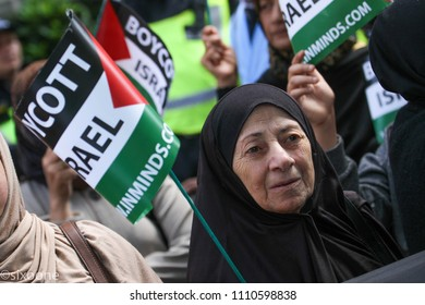 London, UK - 10 June 2018: An eldely protestor joind thousands others outside the Saudi Arabia Embassy for Al Quds Day on 10 June 2018. The annual event held on the last Friday of Ramadan.