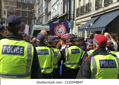 London, UK - 10 June 2018: Free Tommy Robinson protestors held a counter demonstration as the Al Quds Day demonstration took place outside the Saudi Arabia Embassy for Al Quds Day on 10 June 2018.