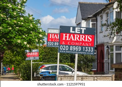 London, UK - 10 May, 2018 - Estate agent signs advertising home for rent or sale around Kensal Rise