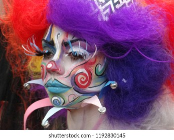 "London / UK - 10.01.2018: Brush wars competition for make up artistry and body painting with the theme: ""Circus Arcadia"" at Olympia Beauty Show 2018"