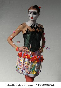 """London / UK - 10.01.2018: Brush wars competition for make up artistry and body painting with the theme: """"Circus Arcadia"""" at Olympia Beauty Show 2018"""