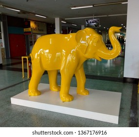 LONDON/ UK- 10th april 2019: The yellow elephant statue that welcome's shoppers at the entrance of the shopping centre at London's elephant and castle district.