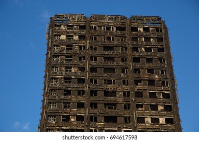 London UK 10th August 2017  The shell of Grenfell Tower on the London skyline after the 24 storey residential block in Latimer Road was engulfed in flames in the early hours of June 14 2017.