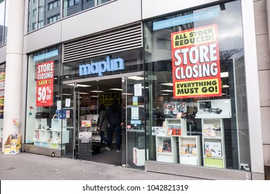 LONDON, UK -10th Mar 2018: Maplin store on Cheapside offer heavy discounts to customers before closing down.
