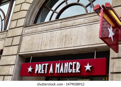 London, UK - 11 August 2019: Facade of Pret A Manger store. Pret is an international sandwich shop chain based in the UK. Founded in 1983, Pret currently has over 450 shops in nine countries