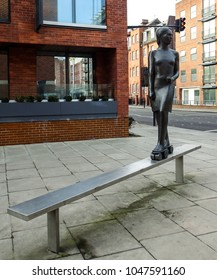 London U.K. 11 Mar 2018: André Wallace's Girl on Roller Skates - sculpture in Pimlico