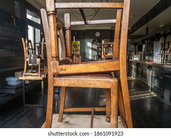 London. UK- 11.24.2020:the interior of a empty closed public house or pub during Covid-19 pandemic lockdown with government order for all hospitality business to shut with a few exceptions.
