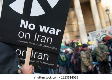 London, UK. 11th January 2020. Anti war protester with placard at the NO WAR WITH IRAN demonstration in Portland Place, London, campaigning for peace and de-escalation in the Middle East.