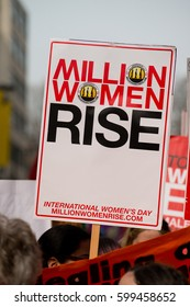 London, UK. 11th March 2017. EDITORIAL - Million Women Rise (MWR) rally- Hundreds of women march through central London, to bring awareness and an end to male violence against women and children.