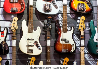 London UK, 12 December 2017, Collection of Electric Guitars Musical Instruments