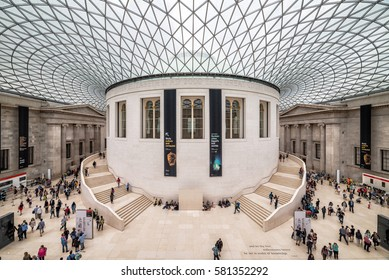 LONDON, UK - 12 JULY, 2016: Tourists in the Great Court at the British Museum. Museum was designed by architect Lord Norman Foster, opened in year 2000.