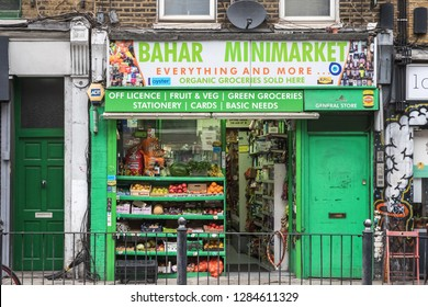 London, UK - 12 July, 2018 - A grocery shop around Hoxton, East London
