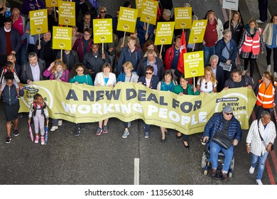 London, U.K. - 12 May 2018: Marchers on the TUC 'A New Deal for Working People' march and rally, including Frances O'Grady (centre) and John McDonnell (right).