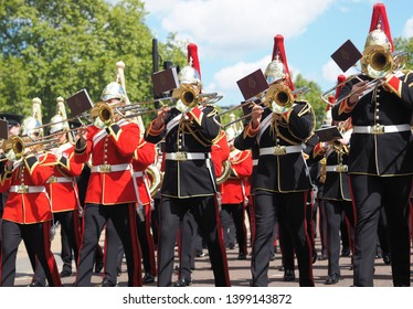 London, U.K. 12 May 2019: Cavalry British Army band play after 94th annual parade of the Combined Cavalry Old Comrades Association.