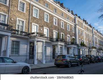 London. UK- 12.05.2020: a row of town houses in South Kensington, Knightsbridge, affluent part of the capital with upmarket, luxury housing.