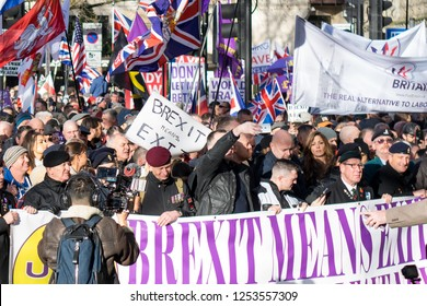 """London, UK, 12/09/2018: Tommy Robinson and UKIP leading the """"Brexit Betrayal"""" march in Central London"""