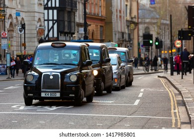 London U.K. 12-17-2018  Row of London cap taxi on the street .