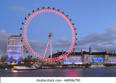 London, UK - 12/23/2015 - London eye in London, UK