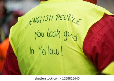 London, UK. 12th January 2019. Anti-government yellow vest protester campaigning against austerity at the Britain is Broken- General Election Now national demonstration in Central London, UK.