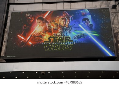 London, UK. 12th March 2016. EDITORIAL -  Low angle view of the large LED screen at the Odeon cinema, Leicester Square, London, for the screening of Star Wars: The Force Awakens.