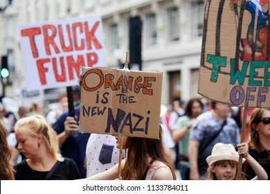 London, U.K. - 13 July 2018: A banner, critical of Donald Trump, displayed during a protest march against the visit of the President of the United States to the U.K.
