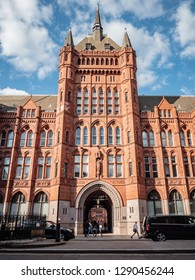 LONDON, UK - 13 SEPTEMBER 2018: T Victorian gothic revival facade to Holborn Bars, aka The Prudential Assurance Building.  It now houses various legal firms serving the nearby Temple Bar district.