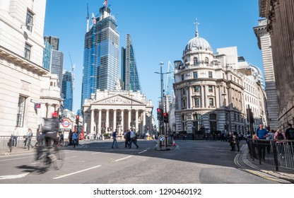 LONDON, UK - 13 SEPTEMBER 2018: A typically busy scene around Bank underground station, the heart of London's old financial district, where established institutions meet modern financial business.