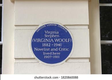 London / UK - 13 September 2020: Virginia Woolf Blue Plaque, Fitzroy Square, London