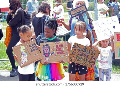 London, UK - 13/6/2020: 'Black lives matter' children's protest by Tottenham, Haringey kids march with family's
