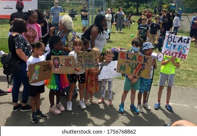 London, UK - 13/6/2020: 'Black lives matter' children's protest by Tottenham, Haringey kids march with family's peaceful