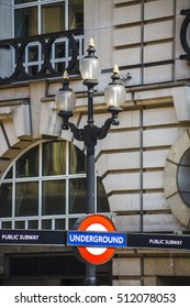 LONDON UK - 13.MAY.2016.: Public Subway Underground Station entrance sign in London, at Piccadilly Circus. Daytime, sunny, close up.