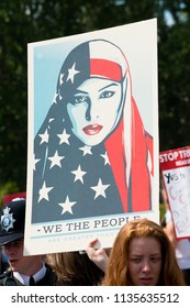 London, UK. 13th July 2018. EDITORIAL - One of the many hundreds of posters seen at the BringTheNoise Women's March Anti Donald Trump protest demonstration through the streets of central London, UK.