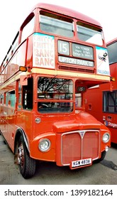 LONDON/ UK- 13th may 2019: Red London route master bus, from the 1960s